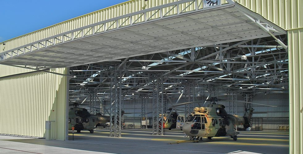 hydroswing uk europe military helicopter hangar doors